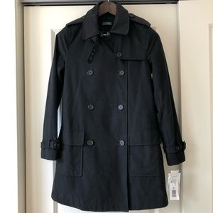 Ralph Lauren Black Trench coat Raincoat Peacoat